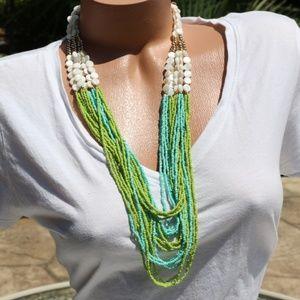 Boho Tribal Multi Strand Seed Bead Shell Necklace